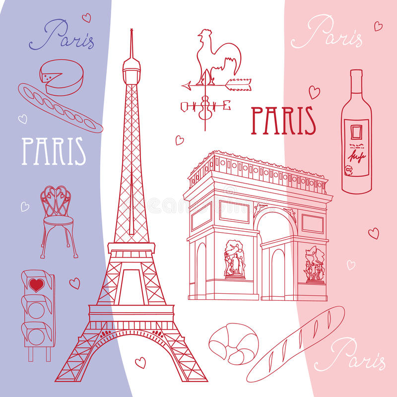 ustaleni Paris symbole royalty ilustracja