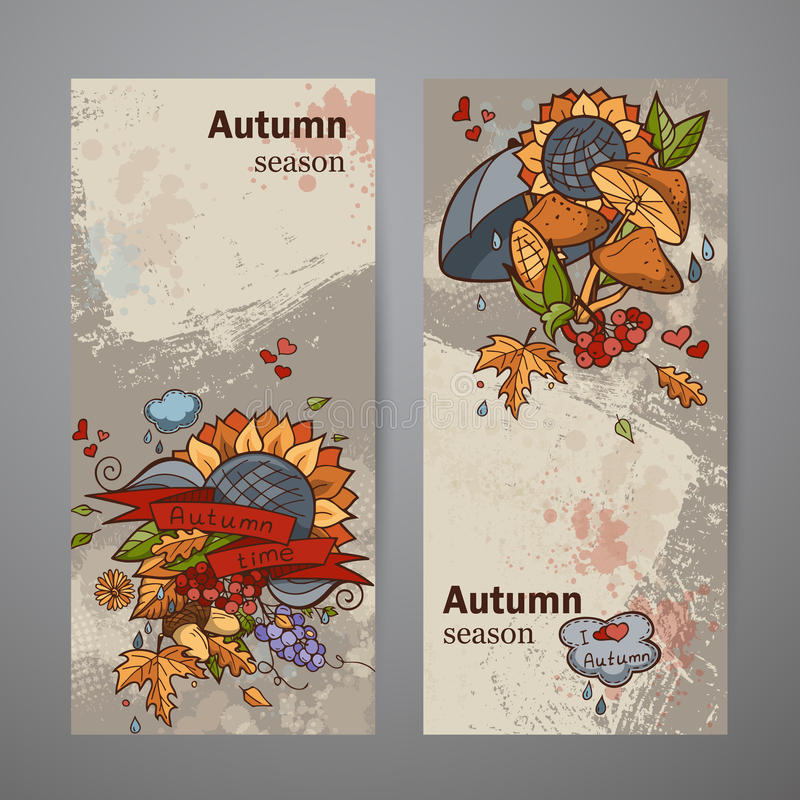 Ustaleni pionowo sztandary barwiony jesieni doodle ilustracja wektor