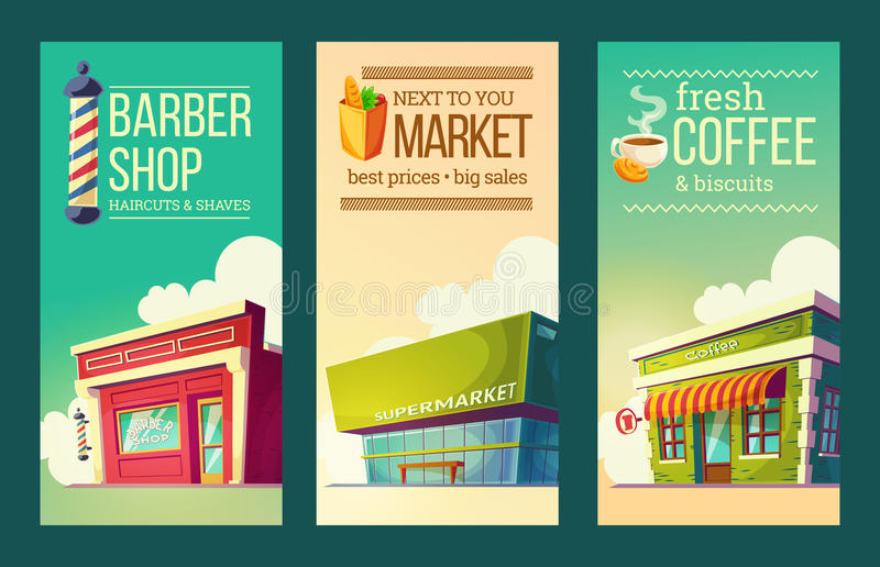Ustaleni pionowo sztandary w retro stylu z supermarketem, fryzjera męskiego sklep, kawa dom royalty ilustracja