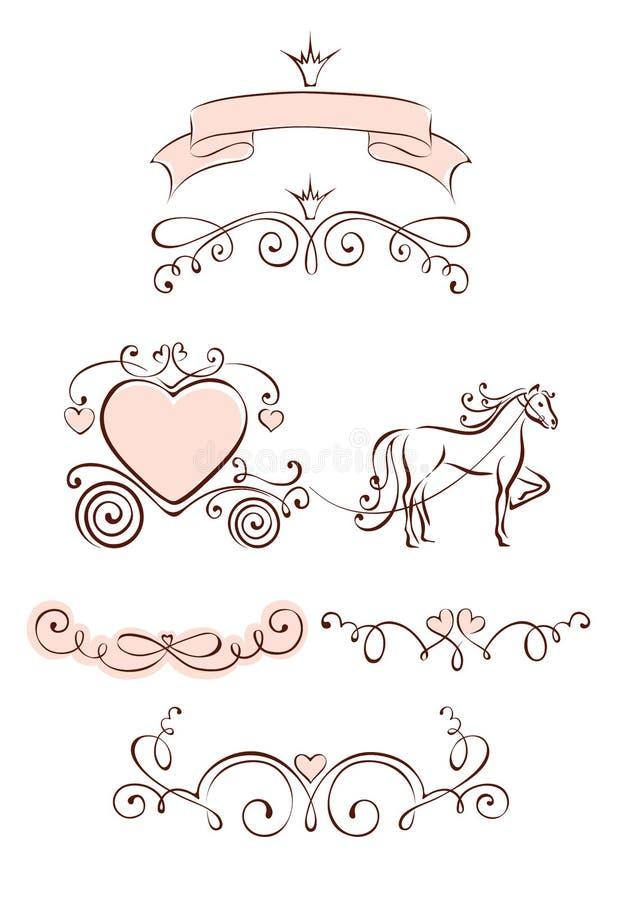 Ustaleni projektów elementy dla walentynek i Poślubiać royalty ilustracja