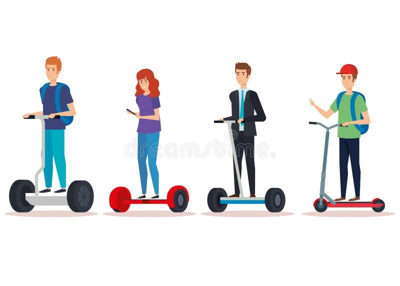 Ustaleni przypadkowi ludzie jedzie elektryczną hulajnogę ilustracja wektor