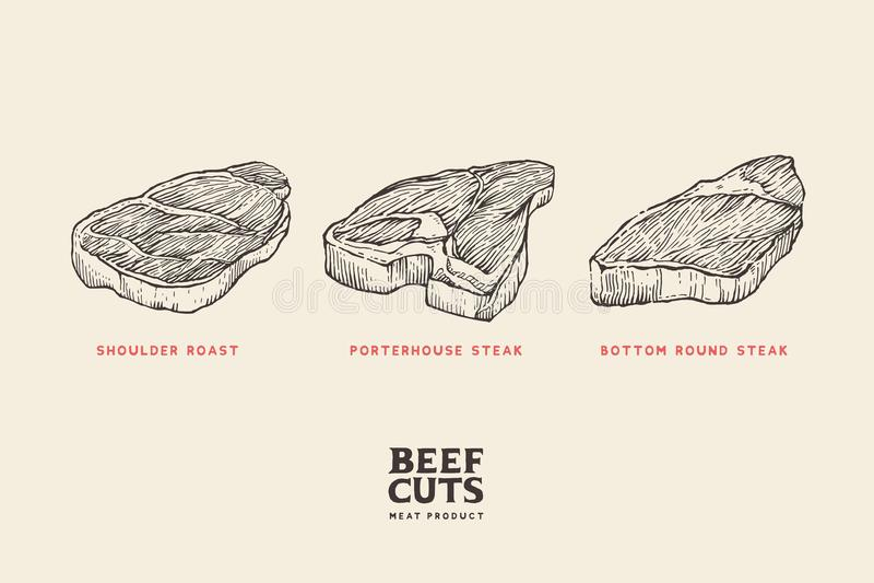 Ustaleni różni cięcia mięso: naramienna pieczeń, porterhouse stek, dolny round stek ilustracja wektor