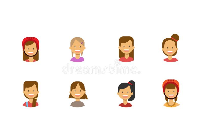 Ustaleni różnorodni śliczni dzieci stawiają czoło szczęśliwego dziewczyna portret na białym tle, żeński avatar mieszkanie royalty ilustracja