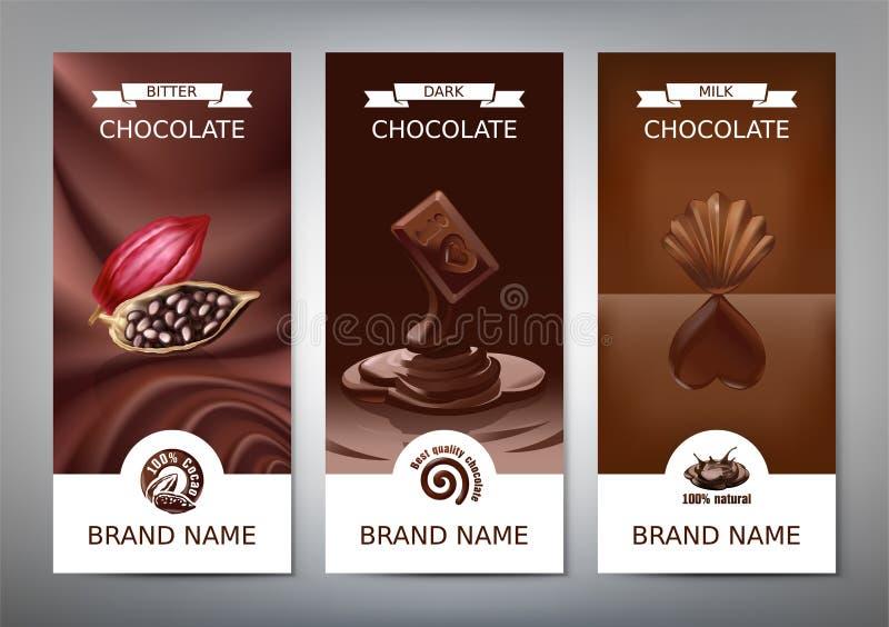 Ustaleni realistyczni wektorowi pionowo sztandary z mleka, ciemnej i gorzkiej czekoladą, ilustracji