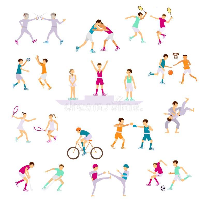 Ustaleni sport aktywność ludzie royalty ilustracja