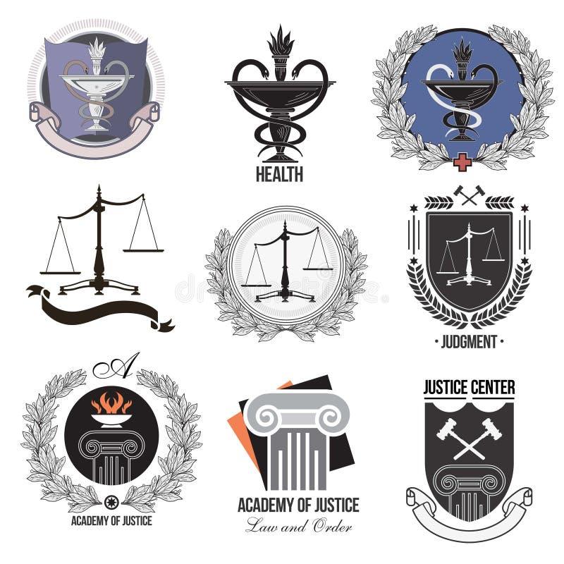 Ustaleni sprawiedliwość, akademia, opieka zdrowotna logowie, emblematy i projektów elementy, ilustracja wektor