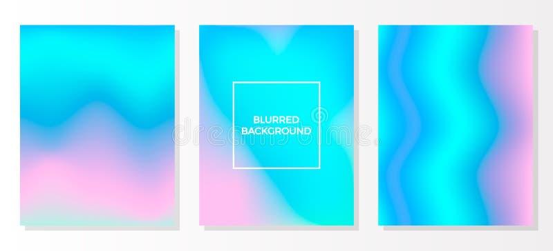 Ustaleni stubarwni zamazani żywi gradientowi tła Set holograficzni wektorowi kolorowi plakaty Szablon dla ulotki i presentati ilustracji