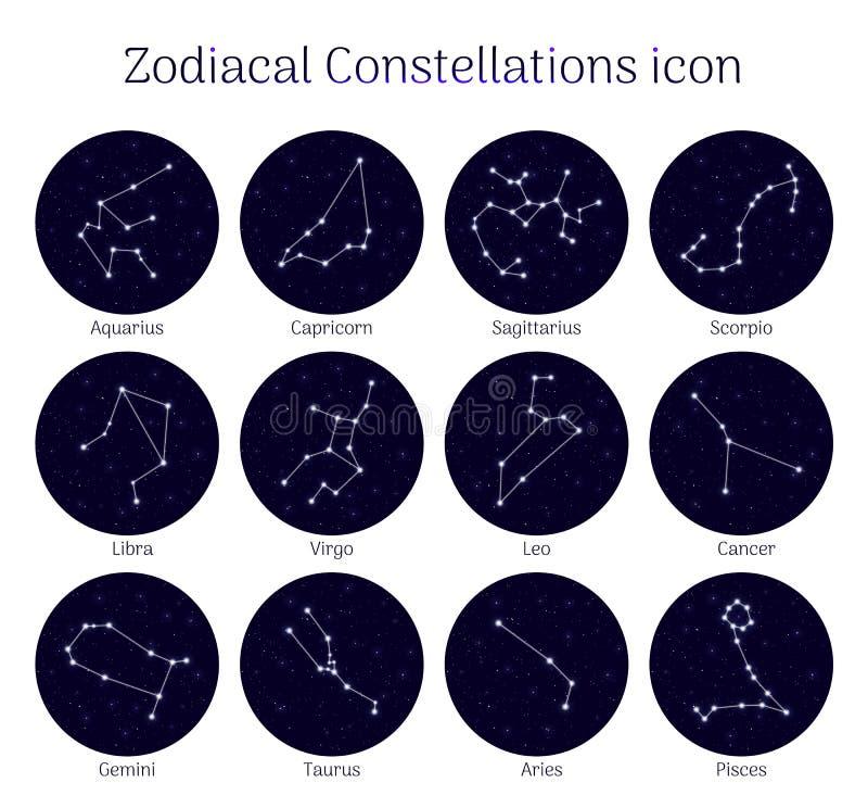 Ustaleni zodiakalni gwiazdozbiory, round, nocnego nieba tło, ikona realistyczna royalty ilustracja