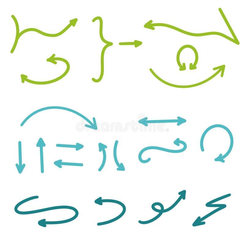 ustalenie strza?a Ręka Rysująca Strzałkowata Inkasowa Wektorowa ilustracja Nowożytne pociągany ręcznie strzały w zielonych błękit ilustracji