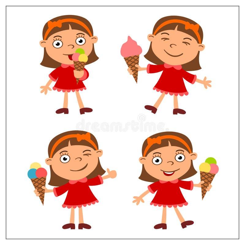 Ustalona śmieszna dziewczyna w kreskówka stylu łasowania lody zdjęcie stock