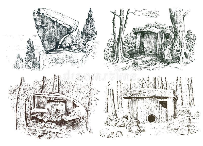 Ustalona antyczna jama prehistoryczny dom drewna lub kamienia skała z resztkami mężczyzna dzień lasu krajobraz pogodny siedlisko royalty ilustracja