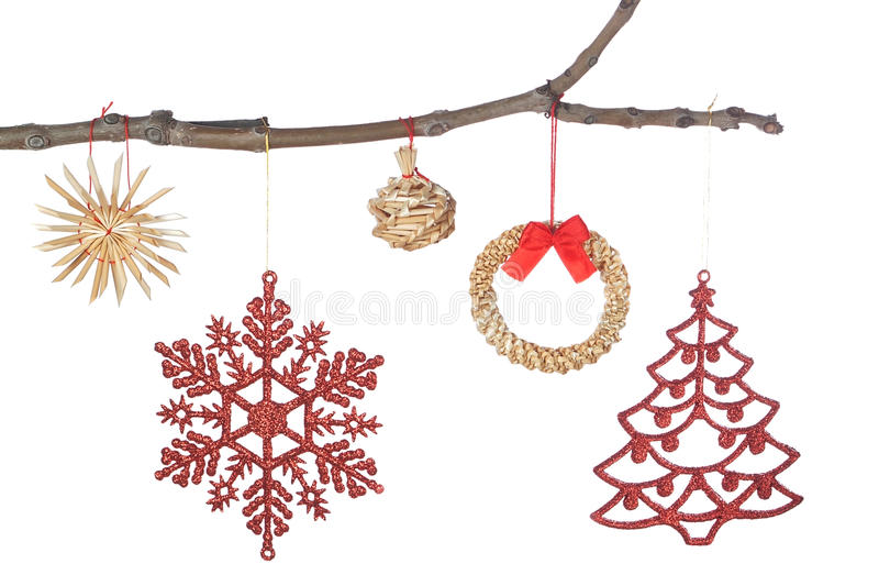 Ustalona dekoracja na gałąź dla Bożych Narodzeń. obraz royalty free