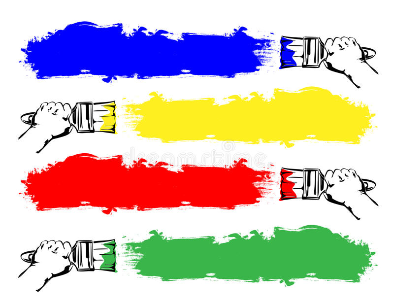 Ustalona farby muśnięcia ręki kreskówka ilustracja wektor
