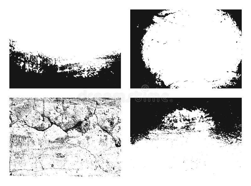 ustalona grunge tekstura Kolekcja różni czarny i biały miastowi tła z adrą, narysy, ściana wektor royalty ilustracja