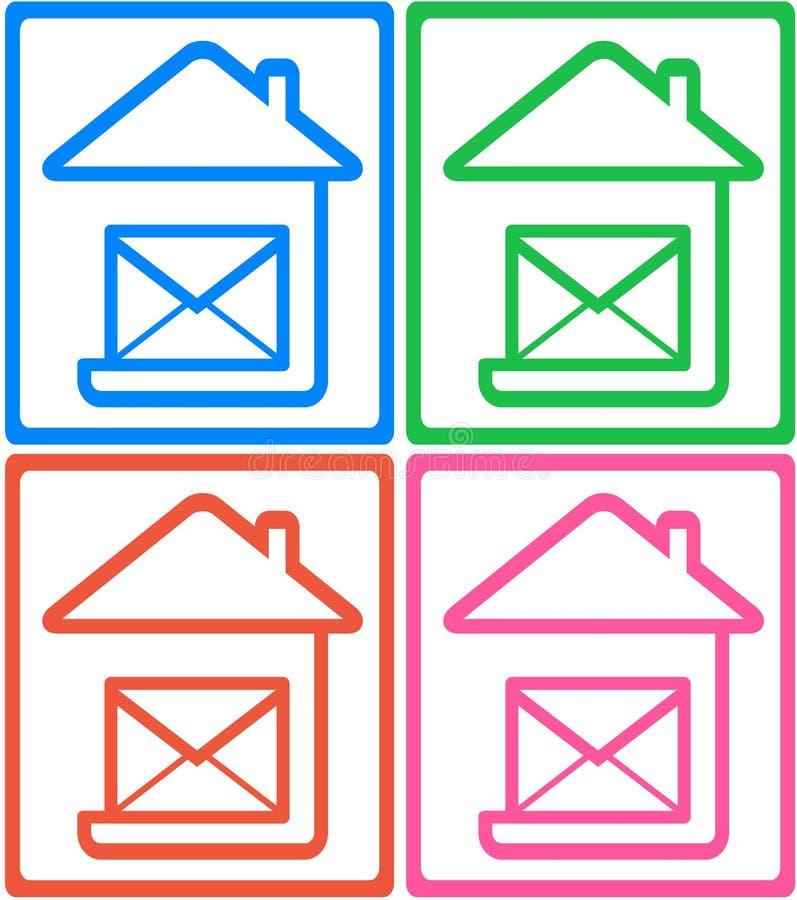 Ustalona kolorowa ikona - symbol poczta dostawa ilustracja wektor