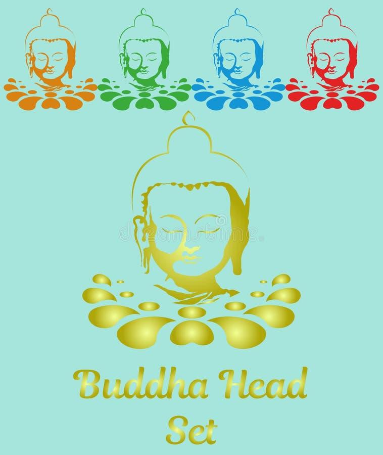 Ustalona koloru Buddha głowa na lotosowym kwiacie obraz royalty free