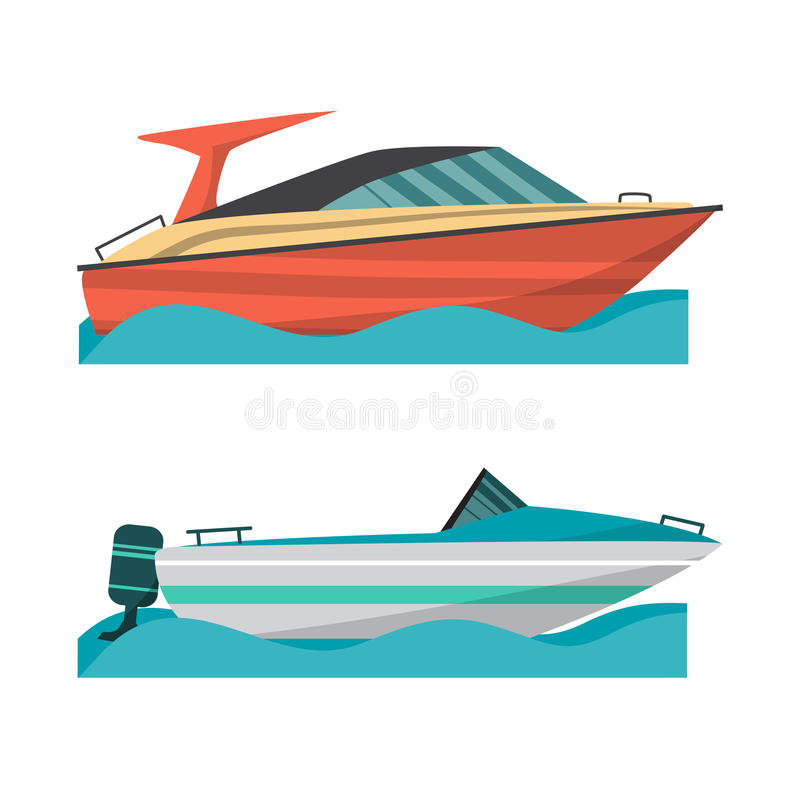Ustalona motorowa łódź i mała łódka z outboard silnikiem royalty ilustracja