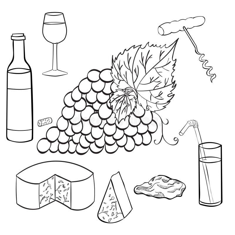 Ustalona nakreślenie gałąź winogrona ilustracja wektor