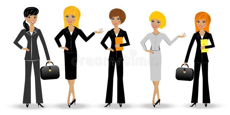 Ustalona nikła biznesowa kobieta na białym tle ilustracji