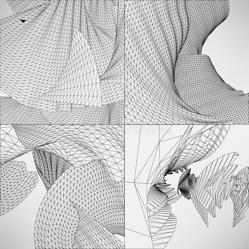 Ustalona poligonalna abstrakcjonistyczna ilustracyjna czarny i biały siatka royalty ilustracja