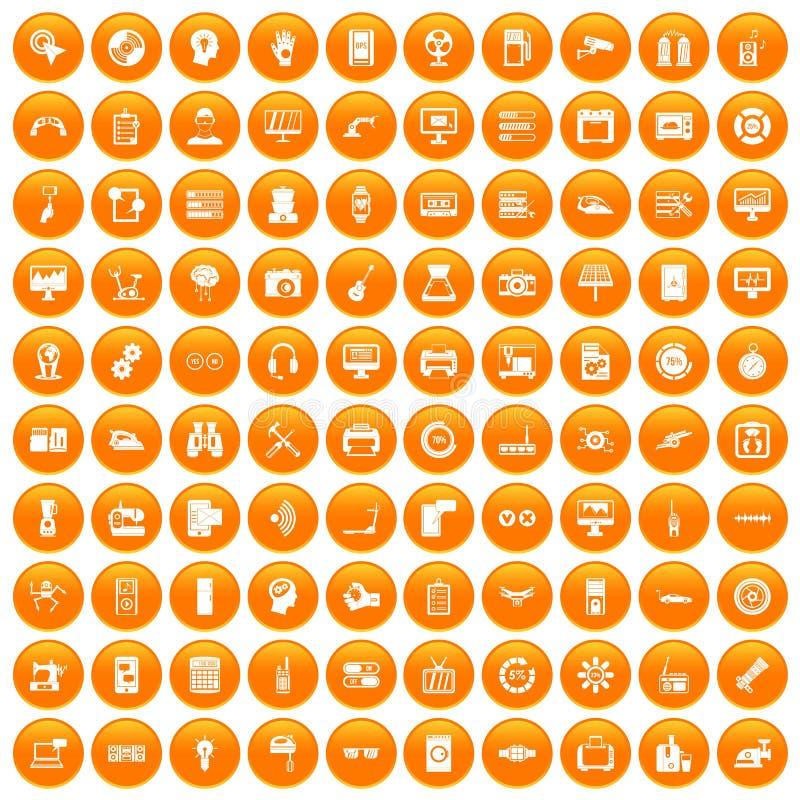 100 ustalona pomarańcze ilustracja wektor