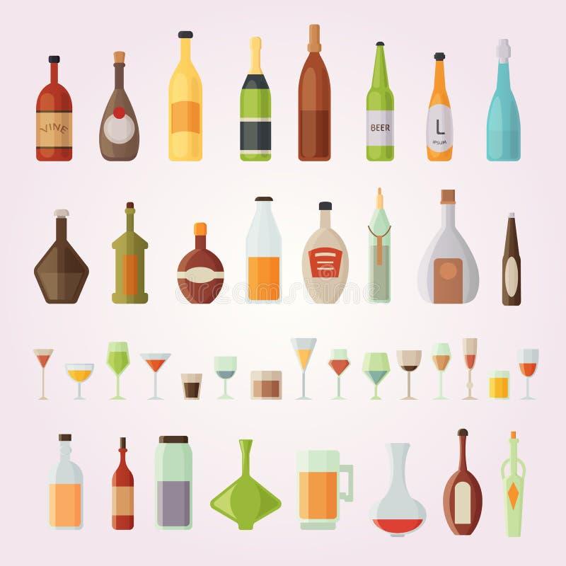 Ustalona projekta alkoholu szkieł i butelek wektoru ilustracja ilustracji