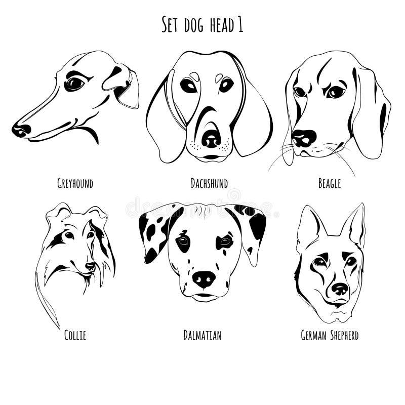Ustalona psia głowa ilustracja wektor