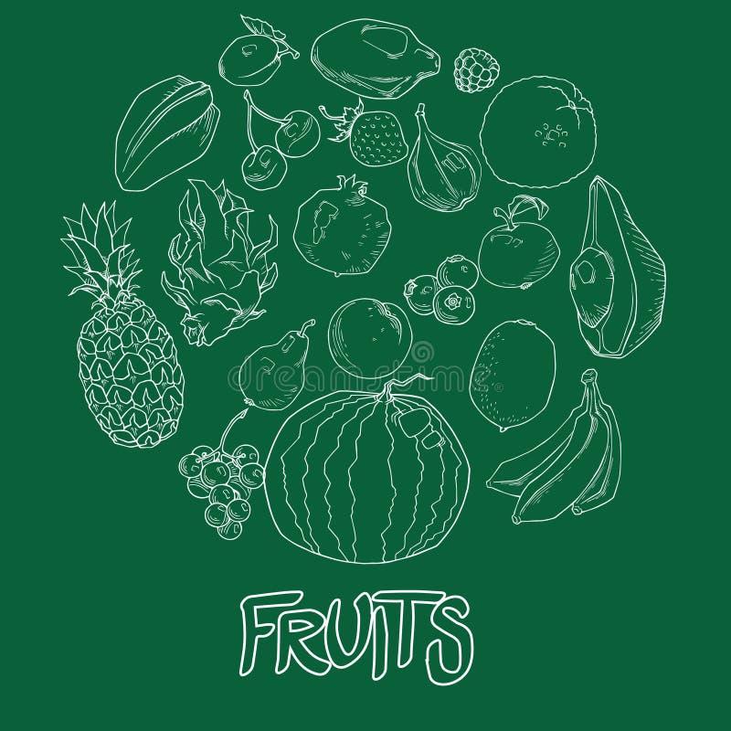 Ustalona ręka rysować owoc i jagod ikony ustawiać Inkasowy produkt rolniczy w dekoracyjnym retro nakreślenie stylu dla restauracy ilustracja wektor