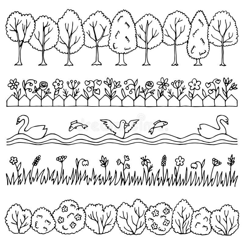 Ustalona ręka rysująca natury granica ilustracji