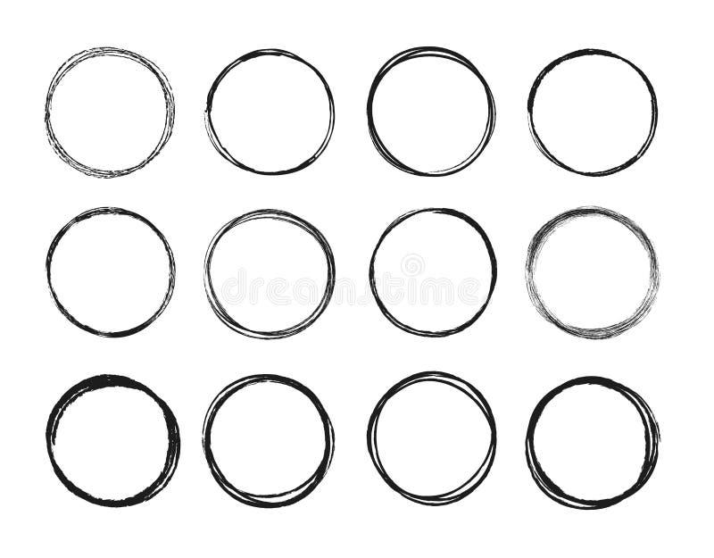 Ustalona ręka rysujący okrąg linii nakreślenia set Kółkowego skrobaniny doodle round okręgi dla wiadomości notatki oceny projektu ilustracji