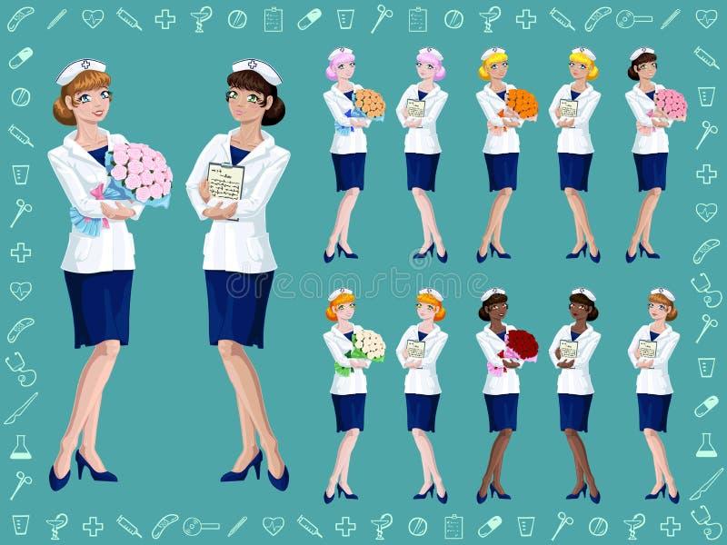 Ustalona radosna pielęgniarka z bukietem lub pastylką royalty ilustracja
