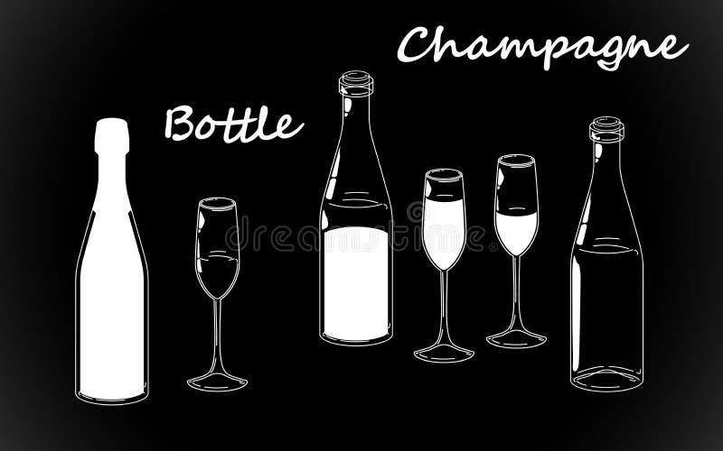Ustalona retro biała butelka, kreskowego rysunku szkła i szampańskie sylwetki, staromodny rocznik ręki rysunek na czarnym tle ilustracja wektor