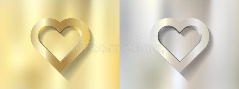 Ustalona srebna złocista serce rama na metalu tle royalty ilustracja