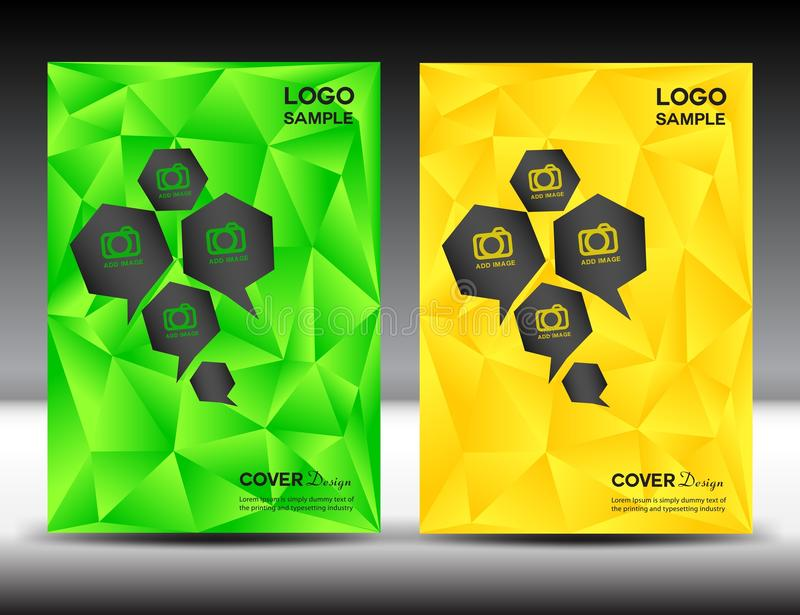 Ustalona zieleni i koloru żółtego pokrywa projektuje szablon wektorową ilustrację p ilustracji