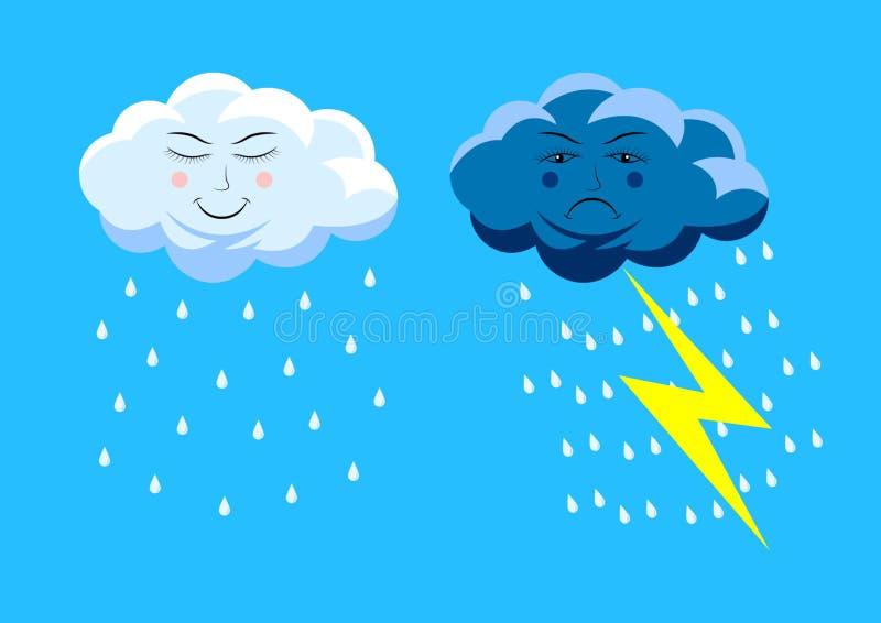 Ustalone śliczne podeszczowe chmury ilustracji