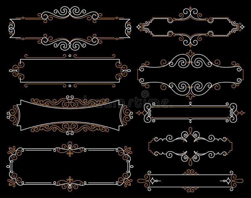 Ustalone dekoracyjne rocznik ramy w mono kreskowym stylu Abstrakcjonistyczna wektorowa ilustracja dla twój loga i projekta Kolekc ilustracja wektor