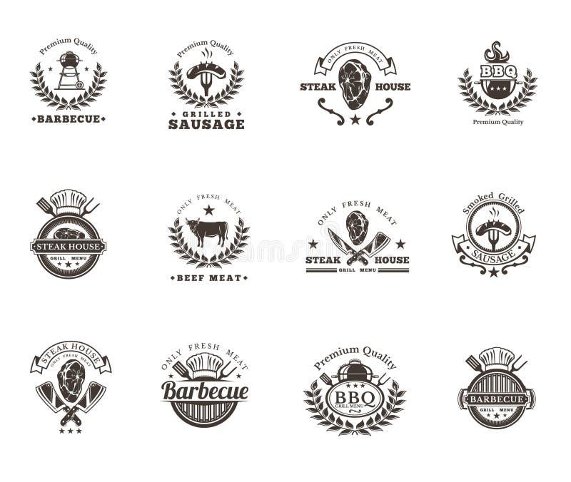 Ustalone grilla i grilla odznaki, majchery, emblematy ilustracja wektor