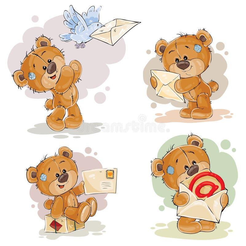 Ustalone klamerki sztuki ilustracje miś dostają listy i wysyłają royalty ilustracja