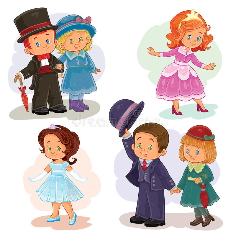 Ustalone klamerki sztuki ilustracje z młodymi dziećmi w dziejowych kostiumach ilustracji