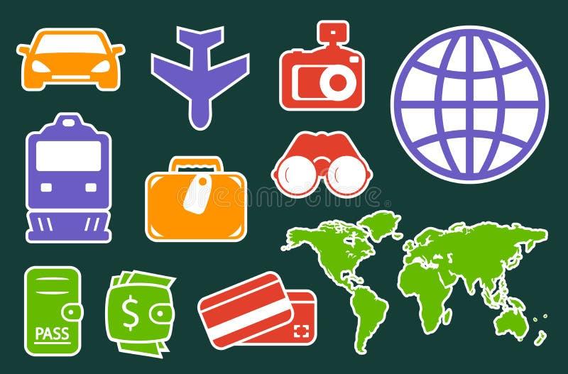 Ustalone kolorowe ikony dla podróż przemysłu royalty ilustracja
