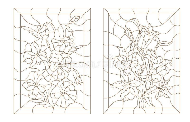 Ustalone konturowe ilustracje witraż z kwiatami ilustracja wektor