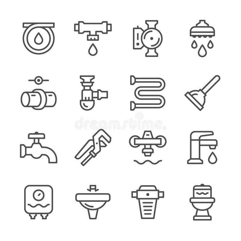 Ustalone kreskowe ikony instalacja wodnokanalizacyjna ilustracja wektor