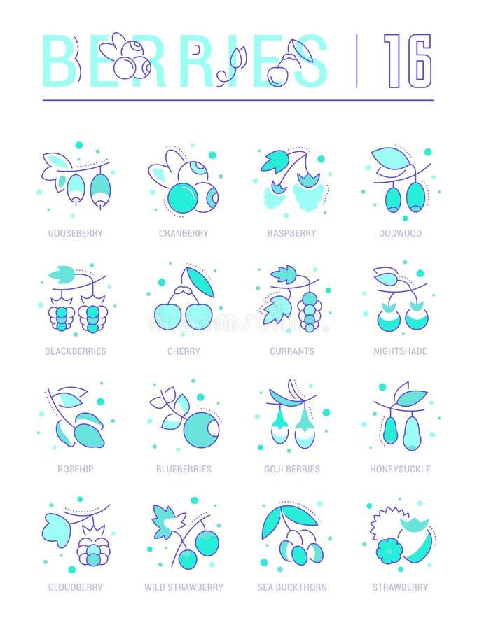 Ustalone Kreskowe ikony jagody ilustracji