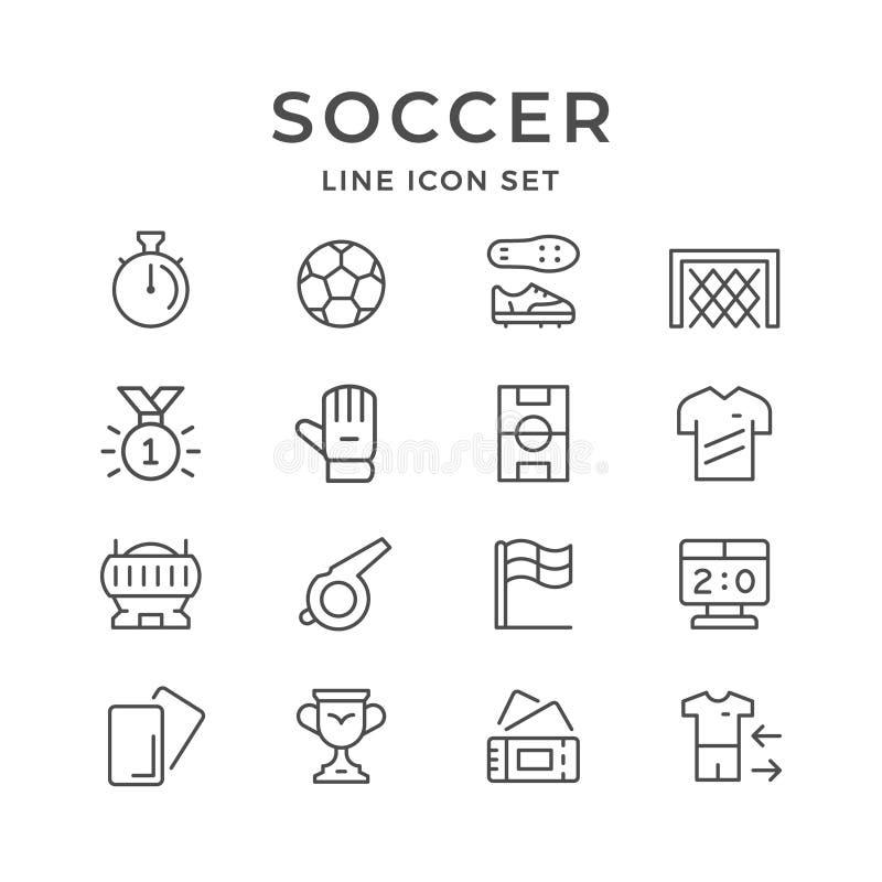 Ustalone kreskowe ikony piłka nożna ilustracja wektor