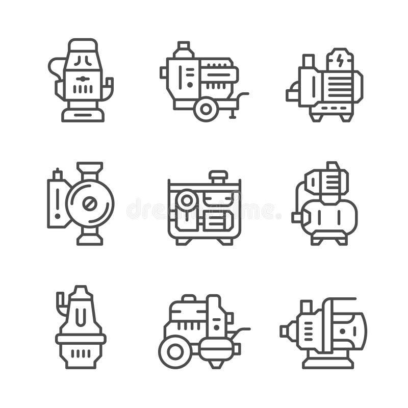 Ustalone kreskowe ikony pompa wodna ilustracja wektor