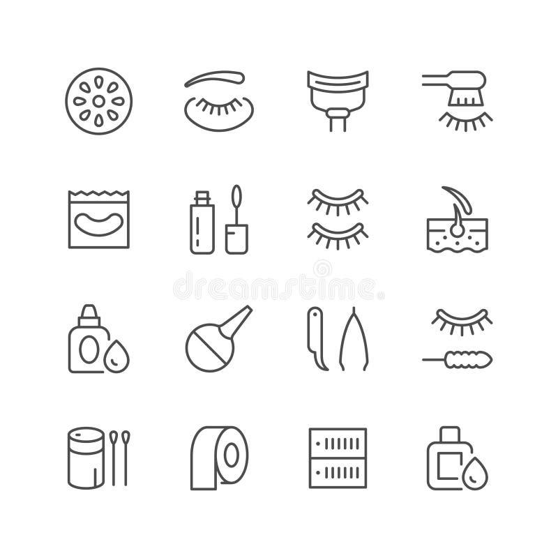 Ustalone kreskowe ikony rzęsy rozszerzenie royalty ilustracja