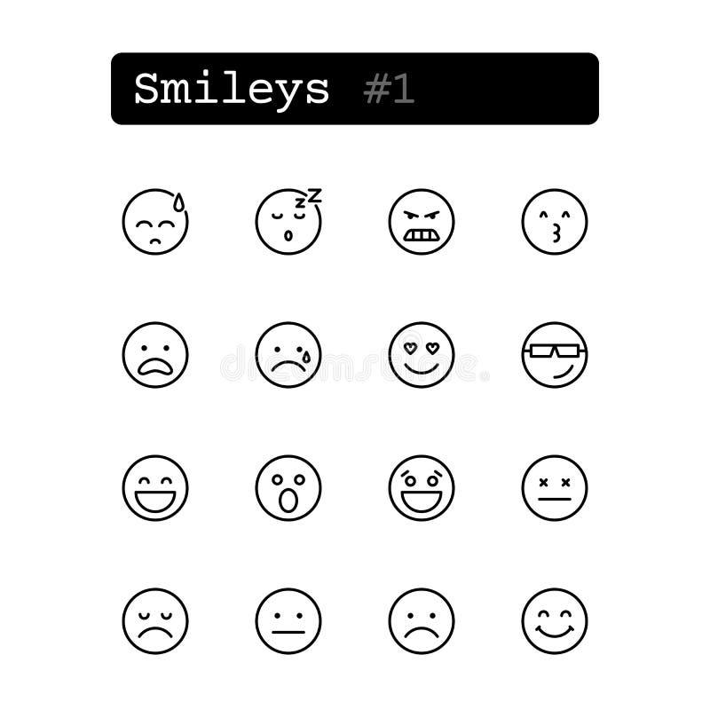 Ustalone kreskowe ikony wektor smileys ilustracji