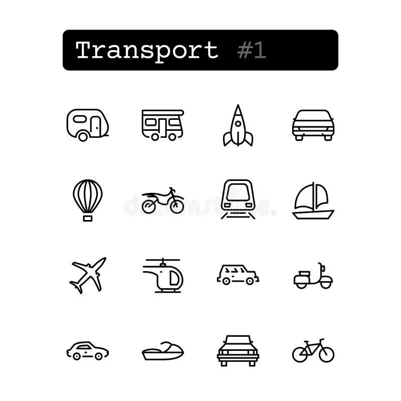 Ustalone kreskowe ikony wektor Transport royalty ilustracja