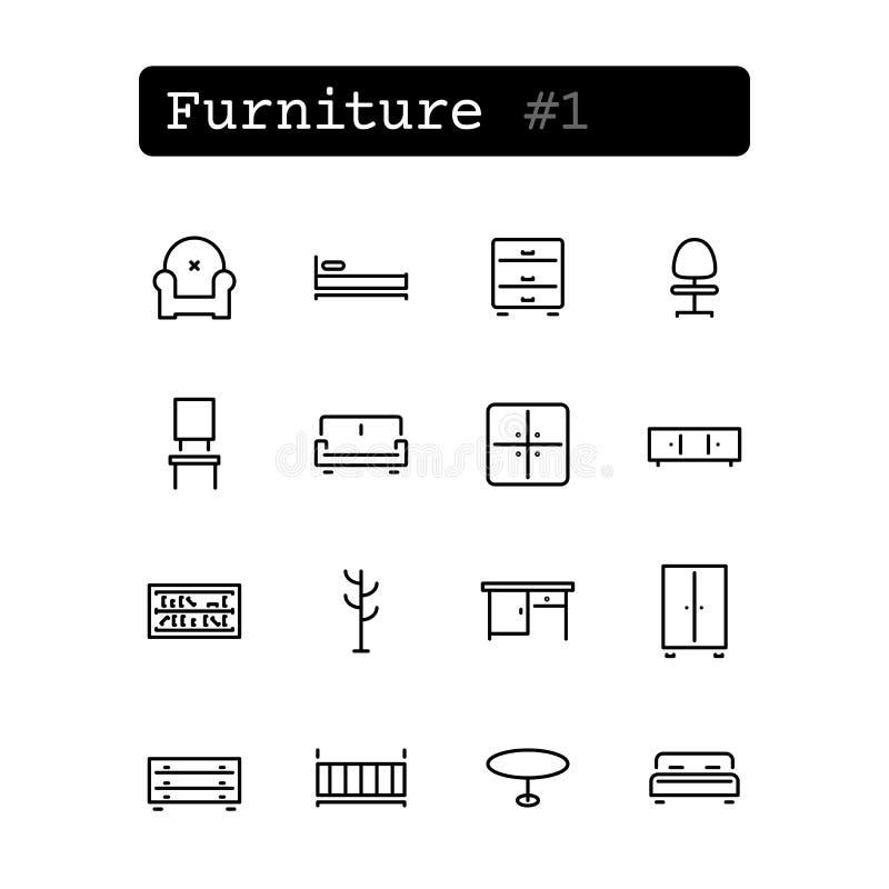 Ustalone kreskowe ikony wektor Zakupy, meble ilustracji