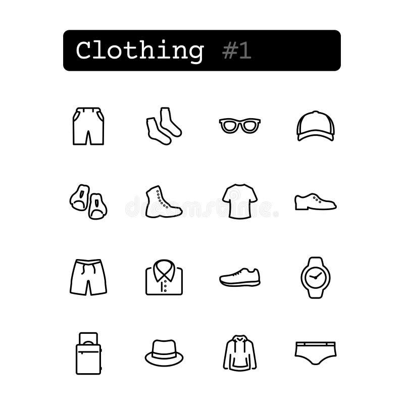 Ustalone kreskowe ikony wektor Zakupy, odziewa ilustracja wektor